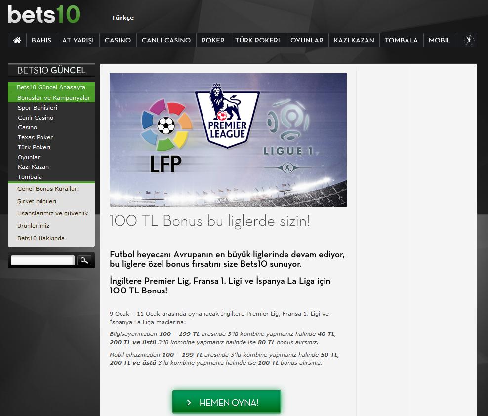 Bets10 Mılan-Inter Maçına 100 TL Bonus