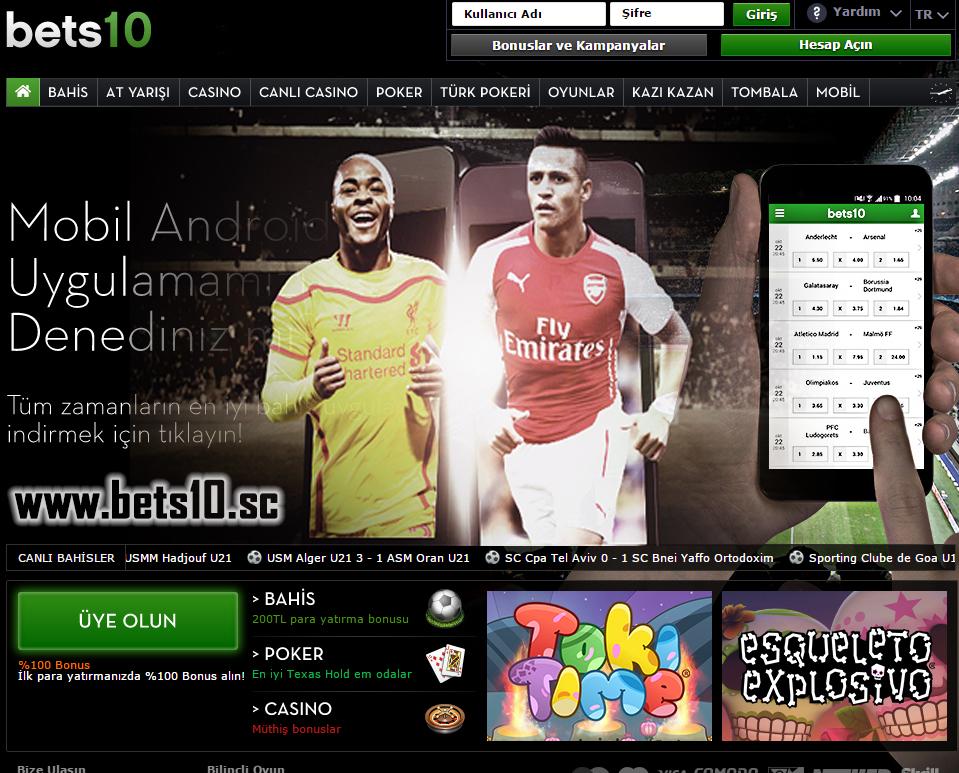 Bets10 Liverpool Arsenal  Maçına 100 TL Bonus Mobilde