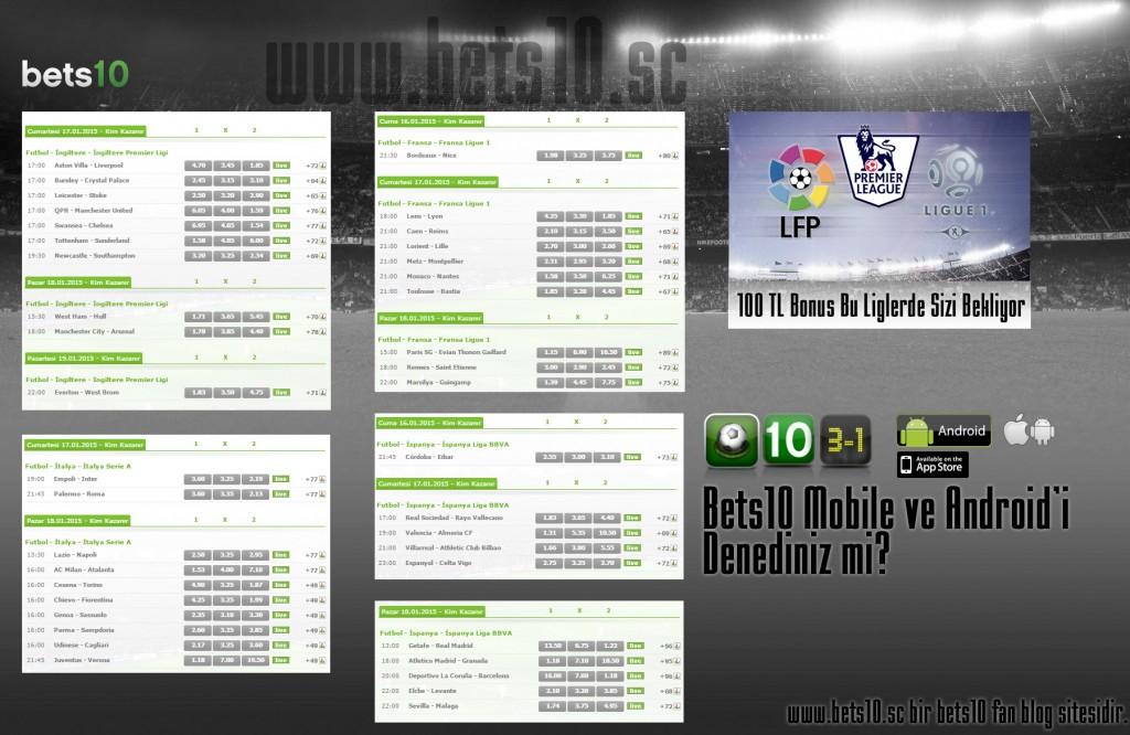 Bets10 Avrupa Liglerinde 100 TL Bonus
