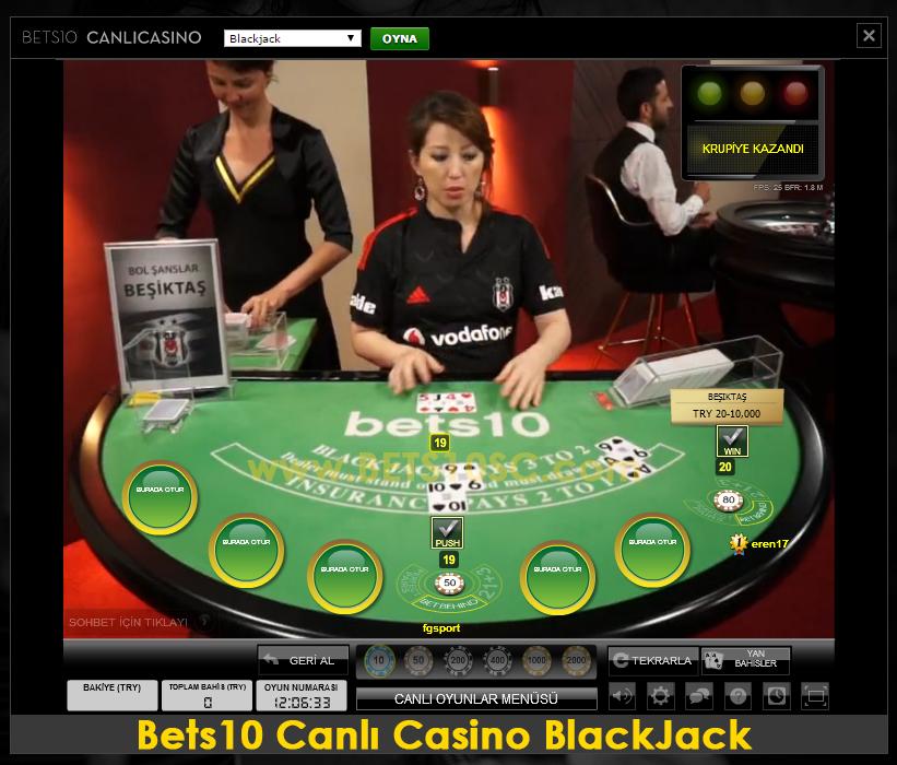 Canlı Casino BlackJack Beşiktaş Masası: