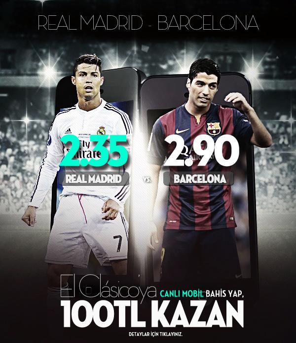 Real Madrid - Barcelona Maçına Mobilde 100 TL Bonus Fırsatı Bets10 da