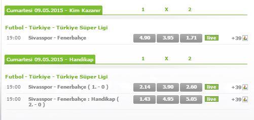 Sivasspor - Fenerbahçe  Maçı Bets10 Bahis Oranları
