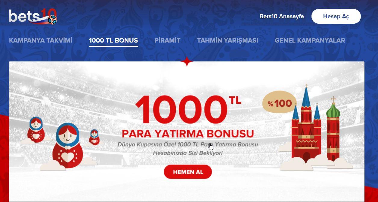 Dünya Kupasına Özel % 100 Para Yatırma Bonusu